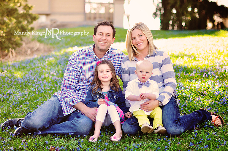 Spring family portraits // blue flowers // Fabyan forest preserve - Geneva, IL // by Mandy Ringe Photography