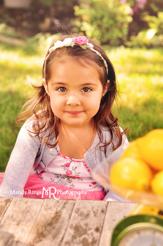 Lemonade Stand Mini Session // pink, yellow, teal, lemons, lemonade, flowers, wooden stand // St. Charles, IL // by Mandy Ringe Photography