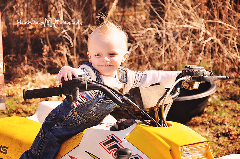 Cousins photo shoot // Boys, four wheeler, overalls // Camden, OH // by Mandy Ringe Photography