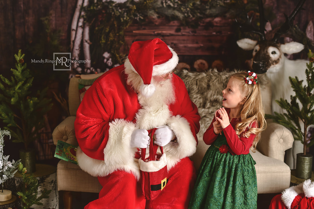 Santa mini session // Christmas, Santa Claus, Reindeer, Baby Dream Backdrops, rustic // by Mandy Ringe Photography // St. Charles, IL Photographer