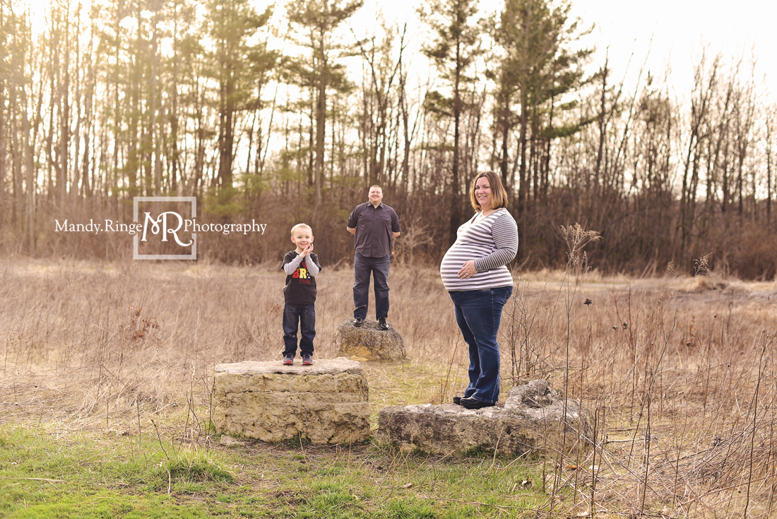 Maternity portraits // big brother, family of three, outdoors, sitting a rock, custom shirt // Leroy Oakes - St. Charles, IL // Mandy Ringe Photography