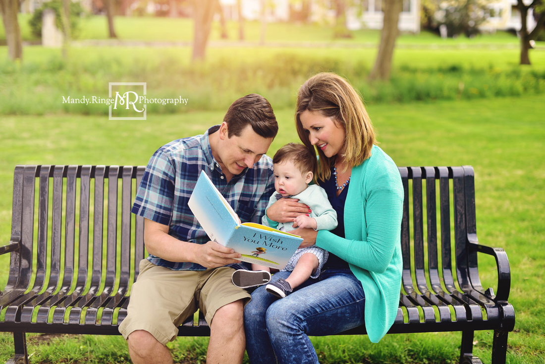 Spring family portraits // family of three, park bench, reading a book, I Wish You More,  teal and navy // Mount St. Mary Park - St. Charles, IL // by Mandy Ringe Photography