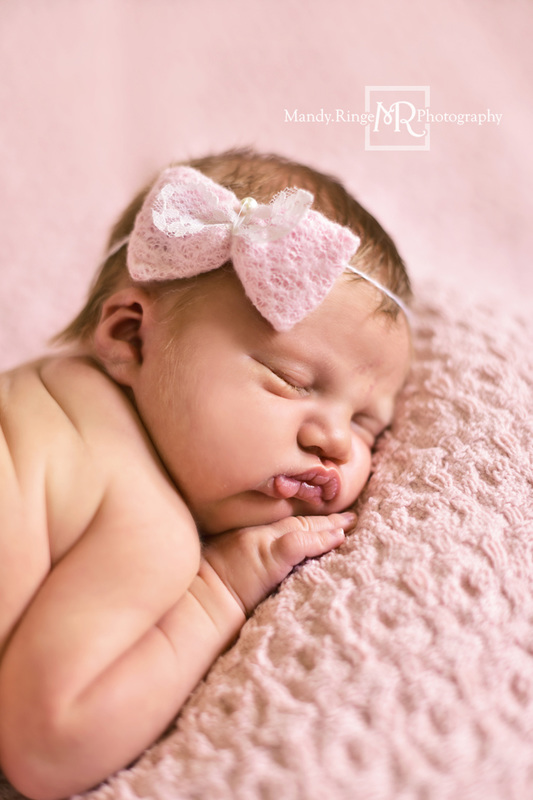 Newborn girl portraits // Pink knit posing blanket, bum up pose // Client's home - St Charles, IL // Mandy Ringe Photography