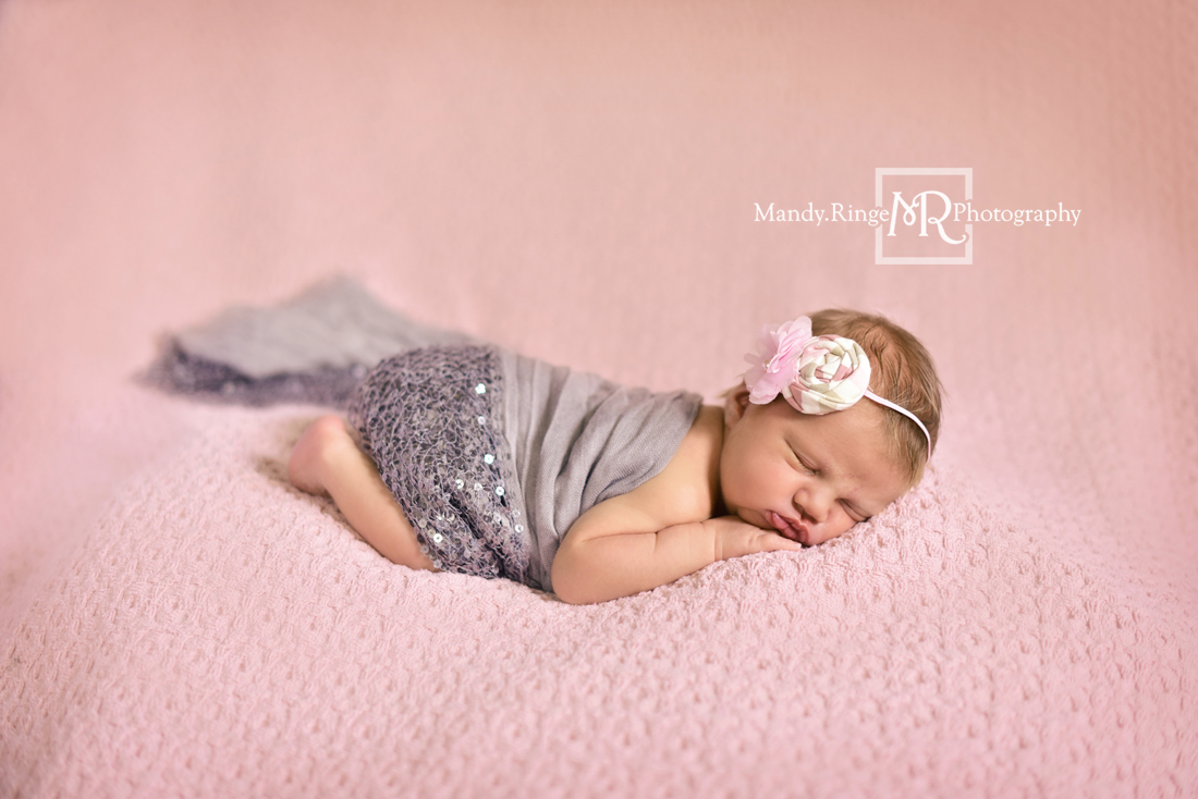 Newborn girl portraits // Pink knit posing blanket, bum up pose, gray wrap, silver sequins, Birdie Baby Boutique headband // Client's home - St Charles, IL // Mandy Ringe Photography