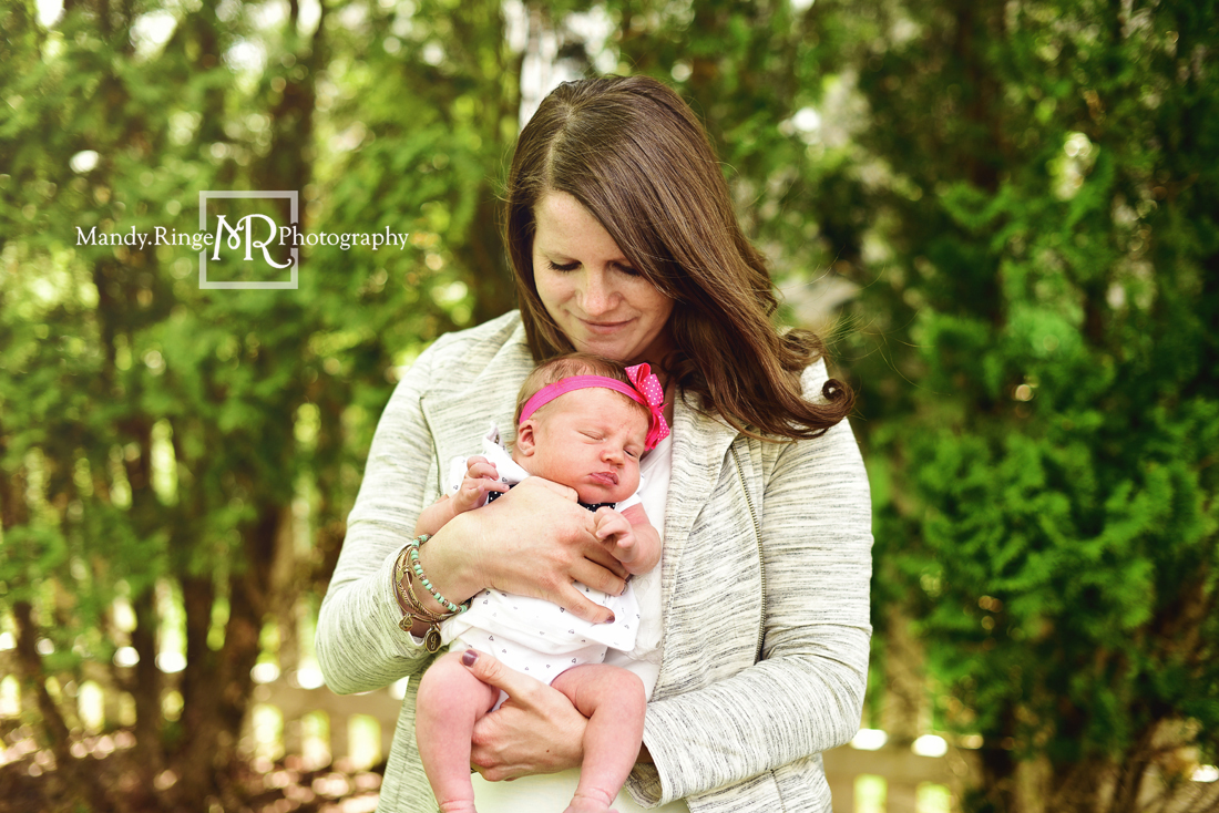 Newborn girl portraits // Outdoor family portraits // Client's home - St Charles, IL // Mandy Ringe Photography