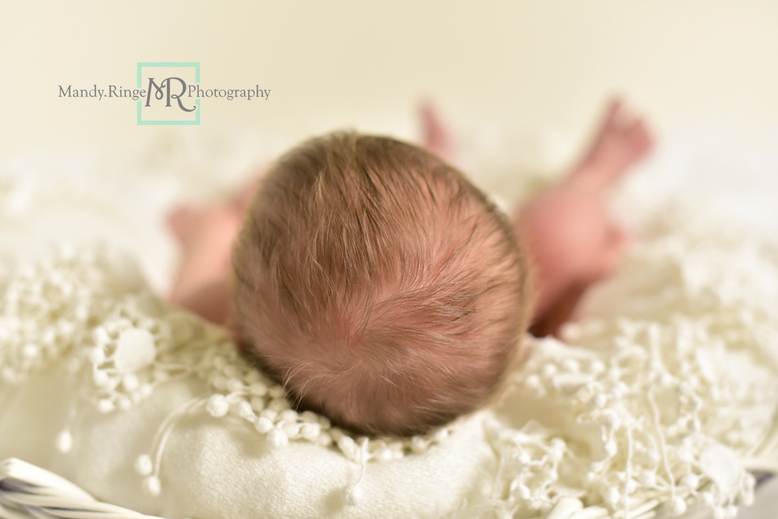 Newborn girl portraits // White woven bowl prop, vintage lace shawl layer, ivory, white // Client's home - St Charles, IL // Mandy Ringe Photography
