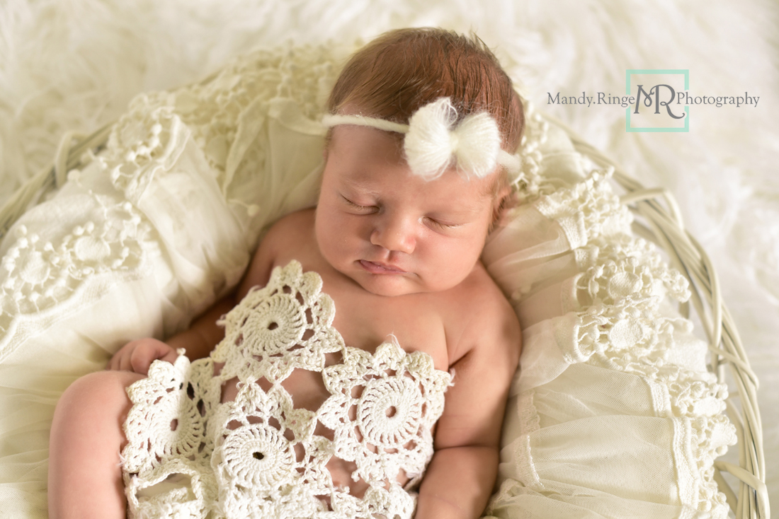Newborn girl portraits // White woven bowl prop, vintage lace shawl layer, doily, mohair bow tieback, ivory, white // Client's home - St Charles, IL // Mandy Ringe Photography