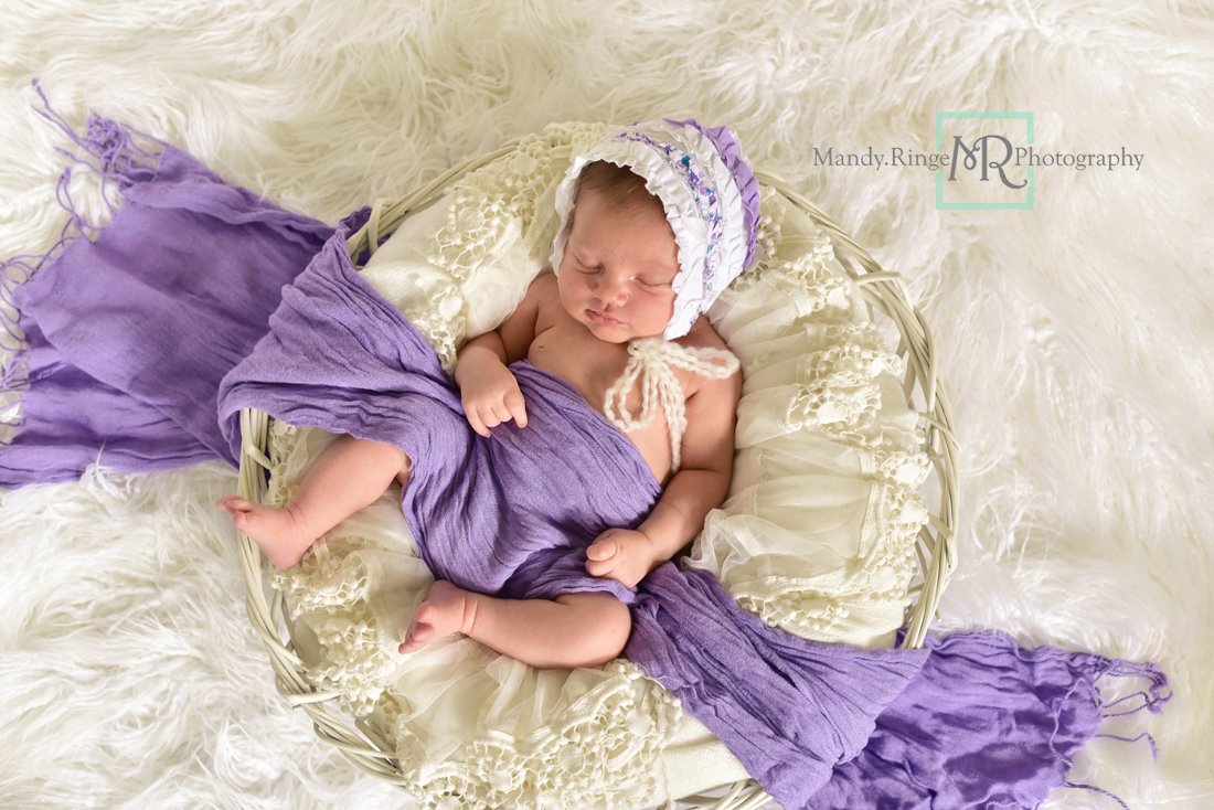 Newborn girl portraits // White woven bowl prop, vintage lace shawl layer, ivory, white, purple scarf, bonnett // Client's home - St Charles, IL // Mandy Ringe Photography