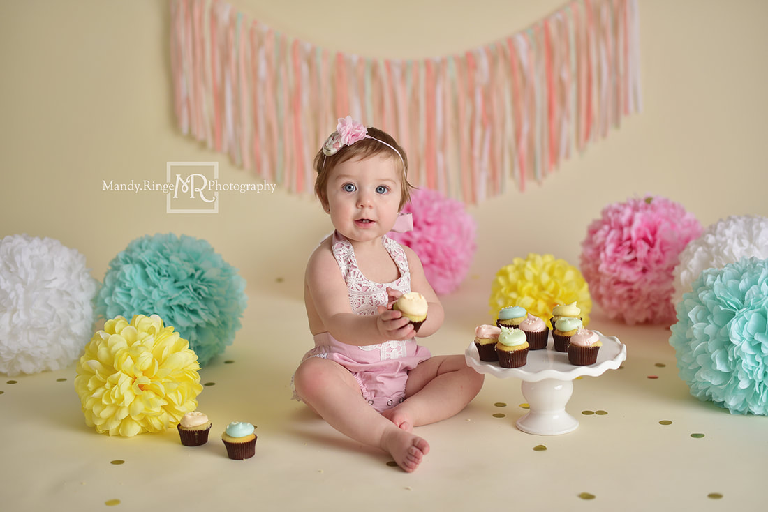 Sibling portraits // girls, cupcakes, pastels, colorful, rainbow, spring, The Sugar Path // St. Charles, IL studio // by Mandy Ringe Photography