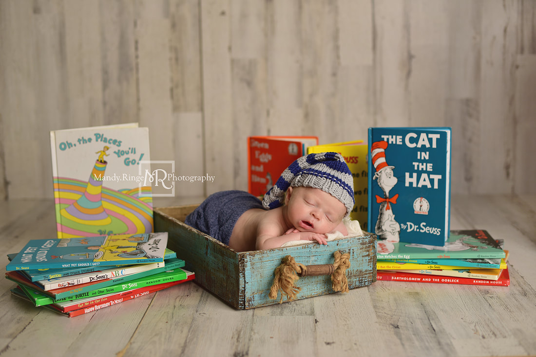 Newborn boy portraits // Shabby blue crate prop, Dr. Seuss books, Cat in the Hat, Oh the Places You'll Go, White Pine Home Depot Panels // St. Charles, IL studio // by Mandy Ringe Photography