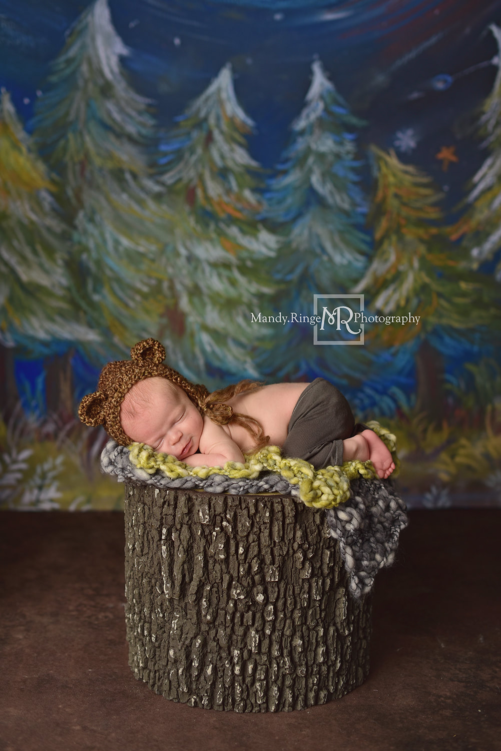 Newborn boy portraits // Fake tree stump prop, knit layers, crochet bear hat, Happy Camper Backdrop, Dirt Floordrop, Intuitions Backgrounds // St. Charles, IL studio // by Mandy Ringe Photography
