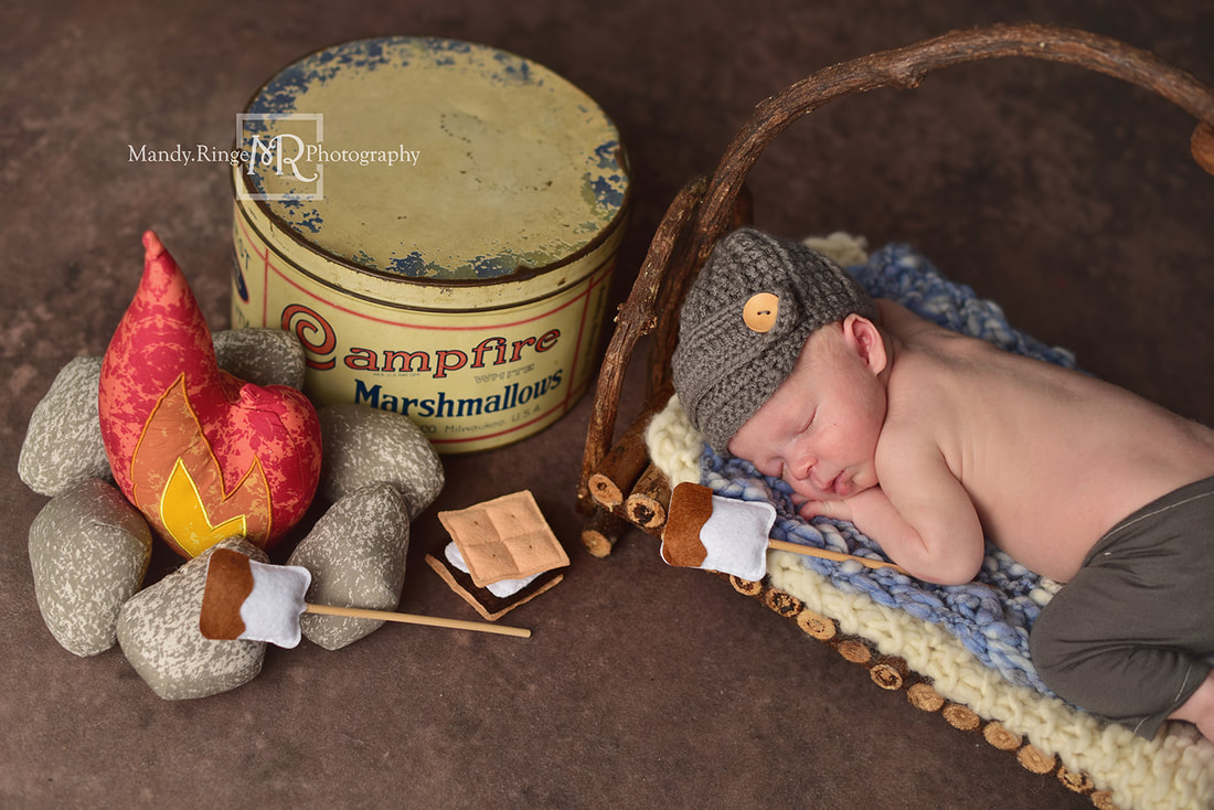 Newborn boy portraits // Twig bed, fake camp fire, campfire marshmallows tin, Smores props, Dirt Floordrop, Intuitions Backgrounds // St. Charles, IL studio // by Mandy Ringe Photography